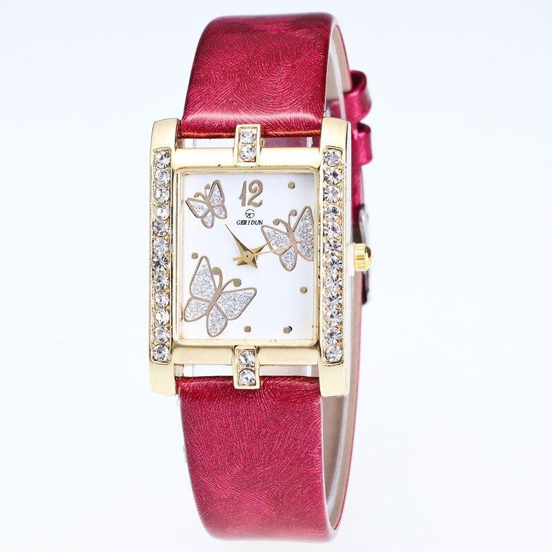 New Fashion butterfly Women Leather Strap watches sport Casual Analog Quartz Watches Business Elegant Round Shape Wristwatch