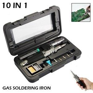 Image 1 - Soldador de Gas profesional 10 en 1 de hierro de soldadura de butano, Kit de antorcha de Encendido automático, llama ajustable, herramientas de mano para el hogar