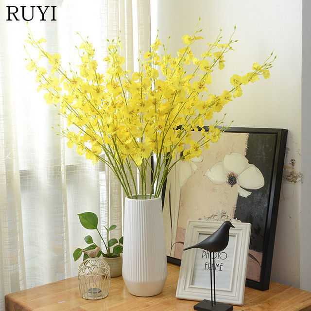 1pcs 90cm silk single dancing orchids artificial flower yellow color 1pcs 90cm silk single dancing orchids artificial flower yellow color simulation fake flower wedding decoration for mightylinksfo