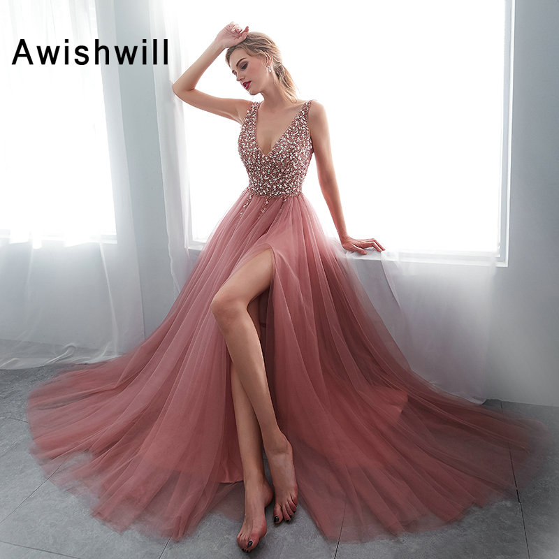 Sexy   Prom     Dresses   Front Slit A Line Evening Party   Dresses   V Neck Sleeveless Vestido De Festa Beading Tulle Long Formal Gowns