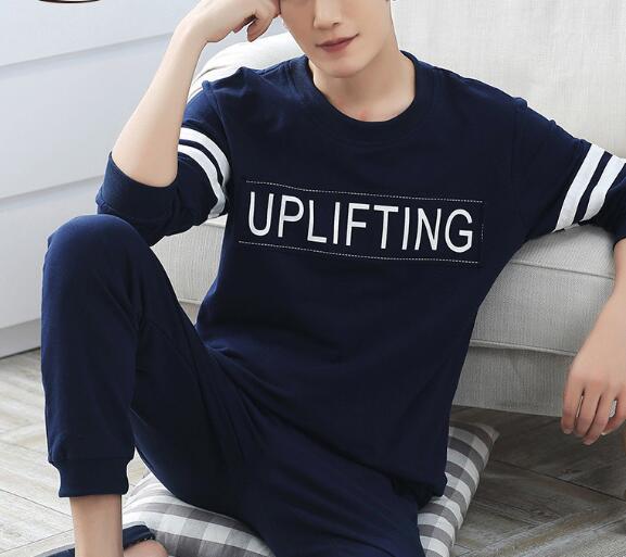 2016 new men pajama sets cotton full sleeve pyjamas male cotton sleepwear casual soft homewear