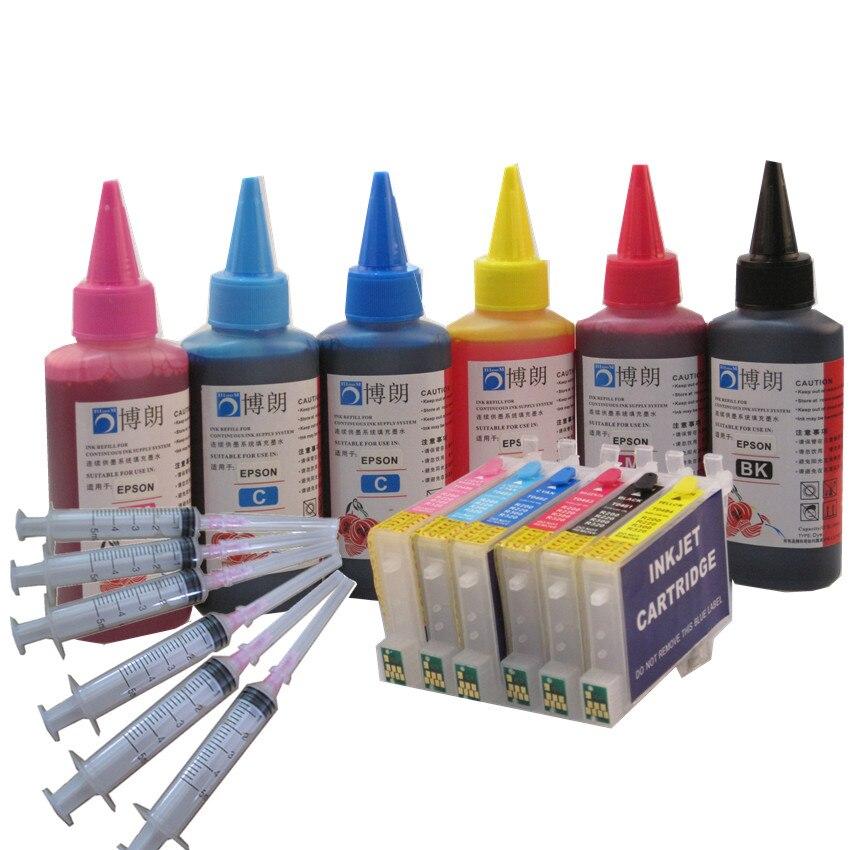 Bloom t0481 cartucho de tinta reenchimento kit para epson stylus foto r200 r300 r300m r320 r340 rx500 rx600 rx620 rx640 impressora