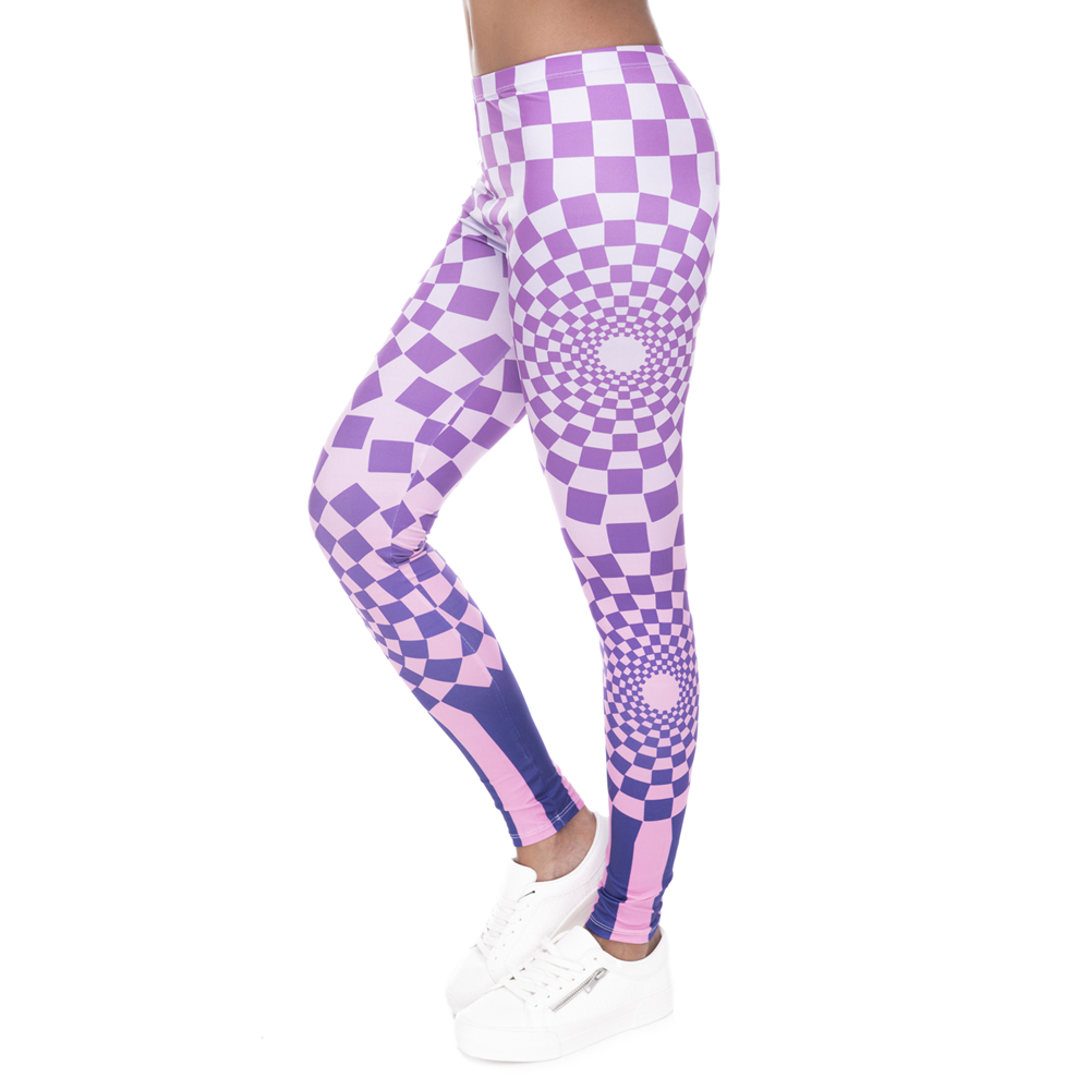 New Leggins Mujer Hypnotic Grids Printing Legging Fitness Feminina Leggins Woman Pants Workout Leggings