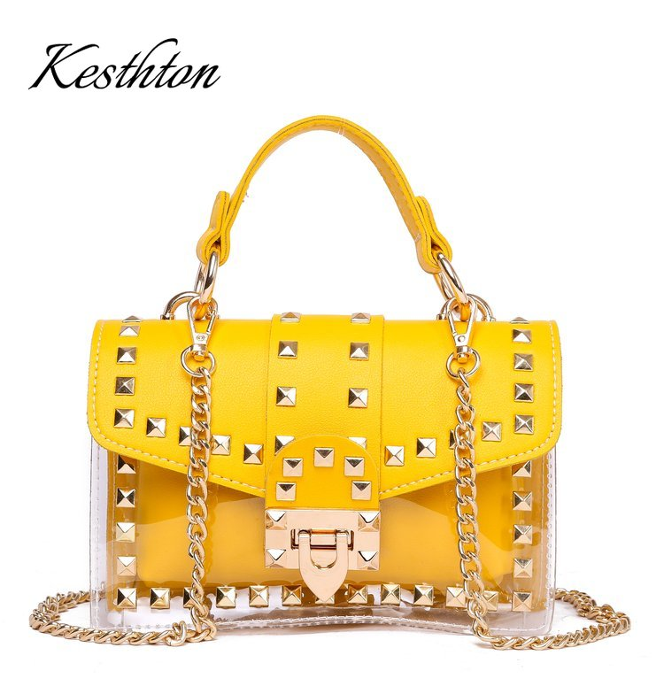 2019 New Chains Rivet Women Handbags Small White Black Pink Yellow Blue Pvc Hasp Handbags Summer Soft Shoulder Bags Cross Body