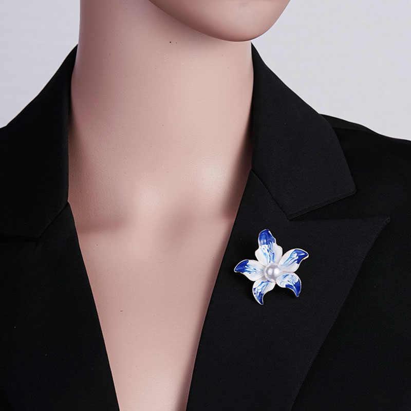 Kembali Fashion Biru Elegan Bunga Mutiara Bunga Bros untuk Wanita Perhiasan Romantis Pernikahan Bridesmaid Pesta Bouquet Bros Pin O35