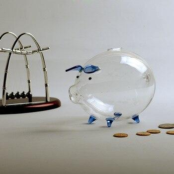 Grande Tirelire Cochon transparente bleue