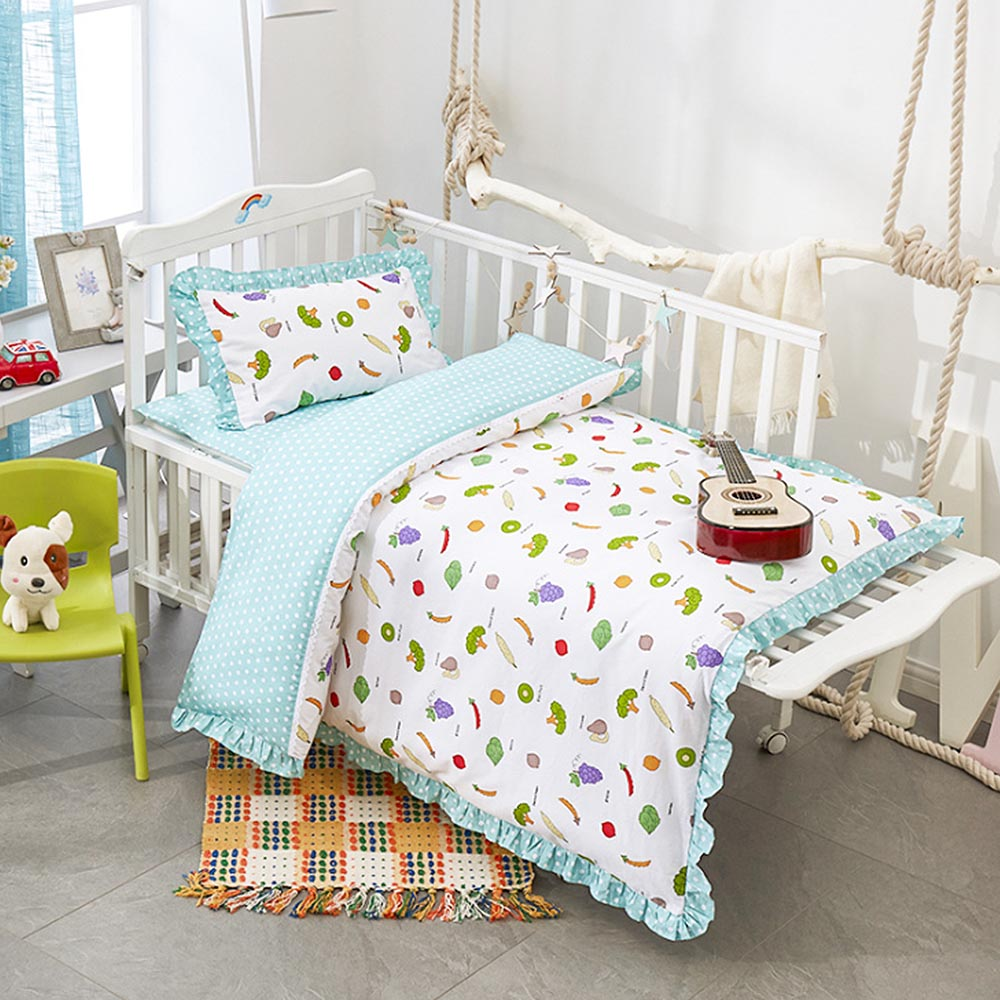 Baby Bedding Set 3Pcs Cotton Bed Kit for Boy Girl Cartoon Fruit Pattern Includes Pillowcase Bed Sheet Duvet Cover Without FillerBaby Bedding Set 3Pcs Cotton Bed Kit for Boy Girl Cartoon Fruit Pattern Includes Pillowcase Bed Sheet Duvet Cover Without Filler