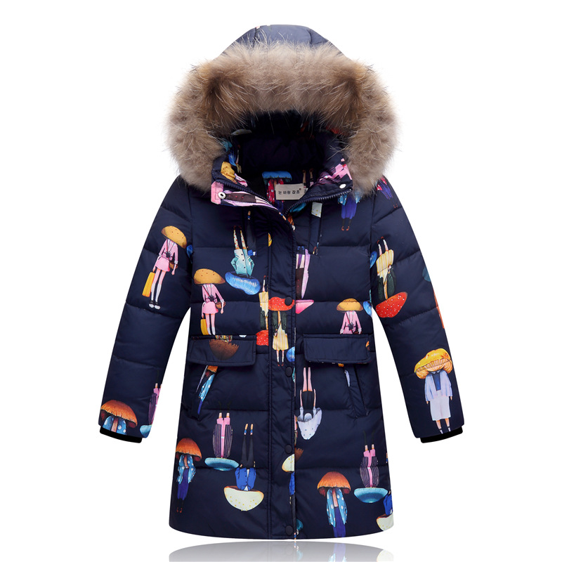 White Feather Down Jacket In The Long Section of Korean Girls' Big Fur Collar Children Winter Children New Thick Coat women winter coat leisure big yards hooded fur collar jacket thick warm cotton parkas new style female students overcoat ok238