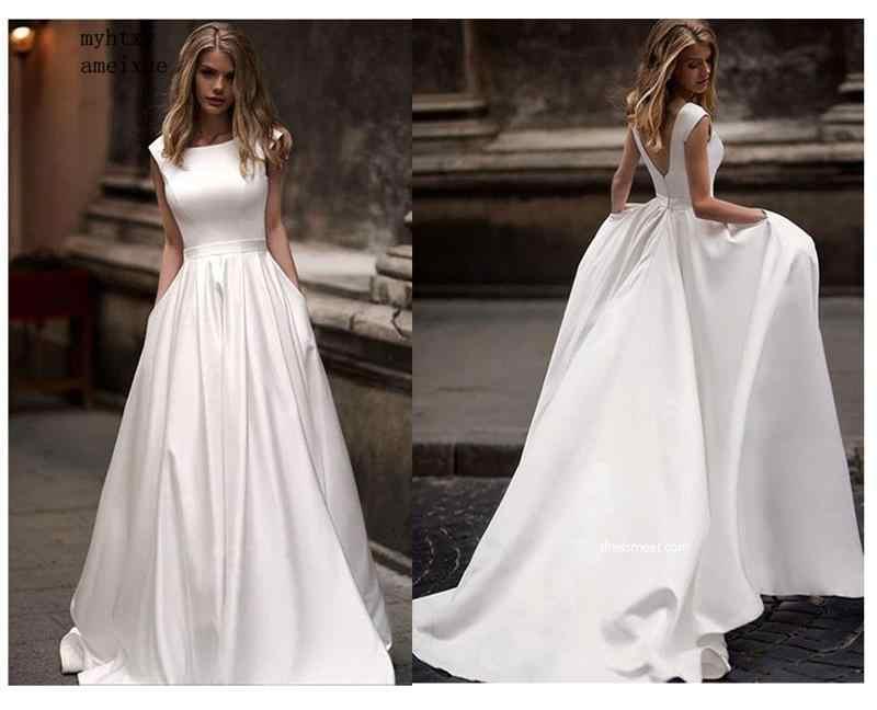 Свадебные платья с карманами 2019 Vestido De Novia атласные белые свадебные платья без рукавов Длина до пола свадебное платье Vestido De Noiva
