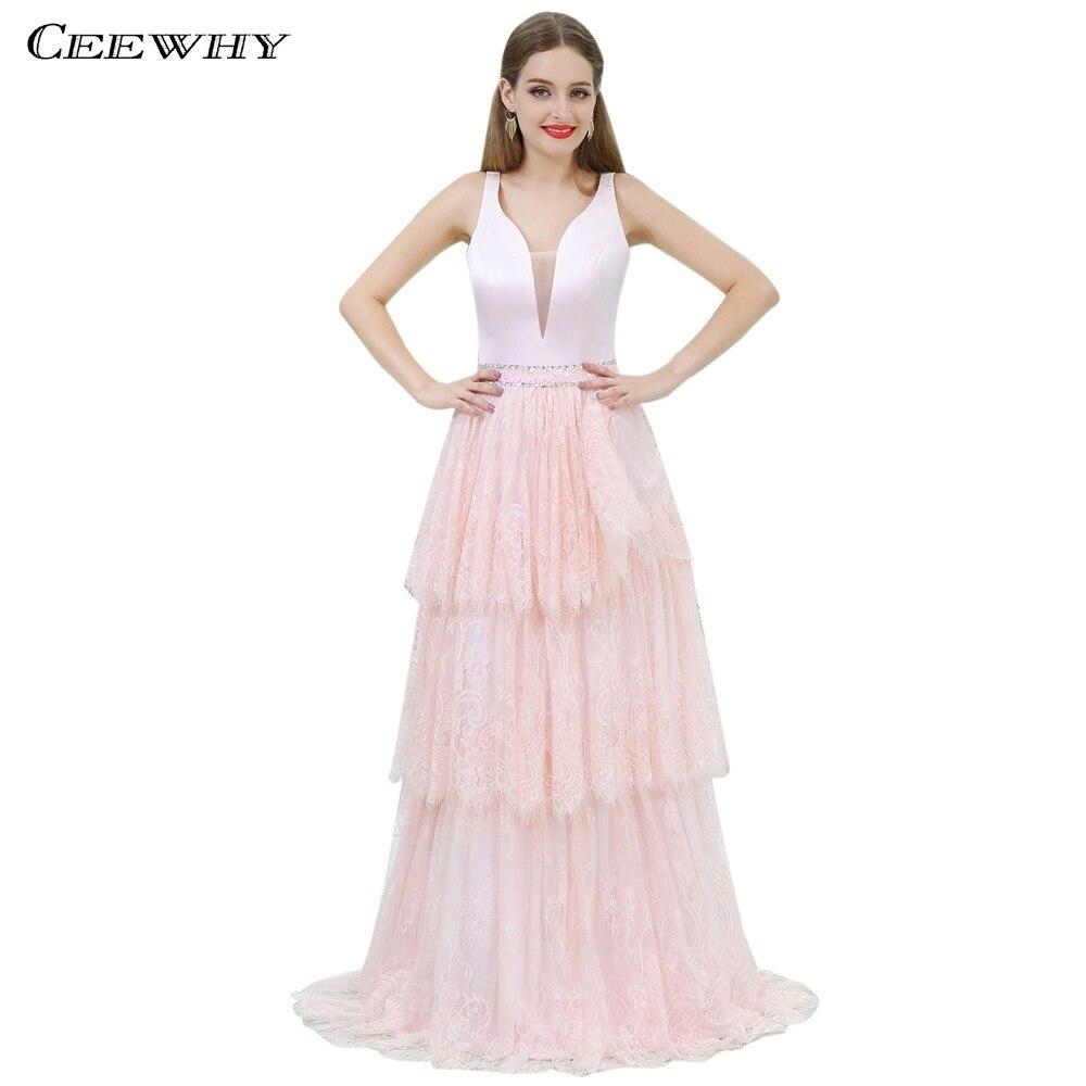 CEEWHY v-cou dentelle robes de bal Robe rose cristal Robe de soirée élégante formelle Robe Abendkleider Robe de soirée Longue 2018