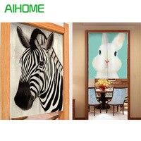 New Canvas Door Curtain Japanese Style Noren Kawaii Rabbit Pattern Door Curtains Japan Hanging Portiere For