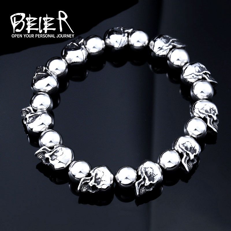 BEIER Stainless Steel New Arrival High Quality Punk Skull Bracelet Personality Fashion Men Jewelry BC8 034