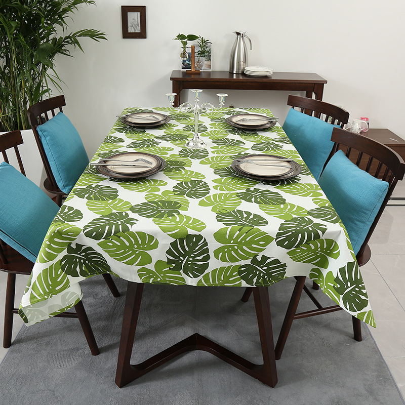 Simanfei Waterproof Table Cloth Fashion Rectangular Leaf Shape Canvas Table Cover Home Modern Decoration Non slip Table Cloth in Tablecloths from Home Garden