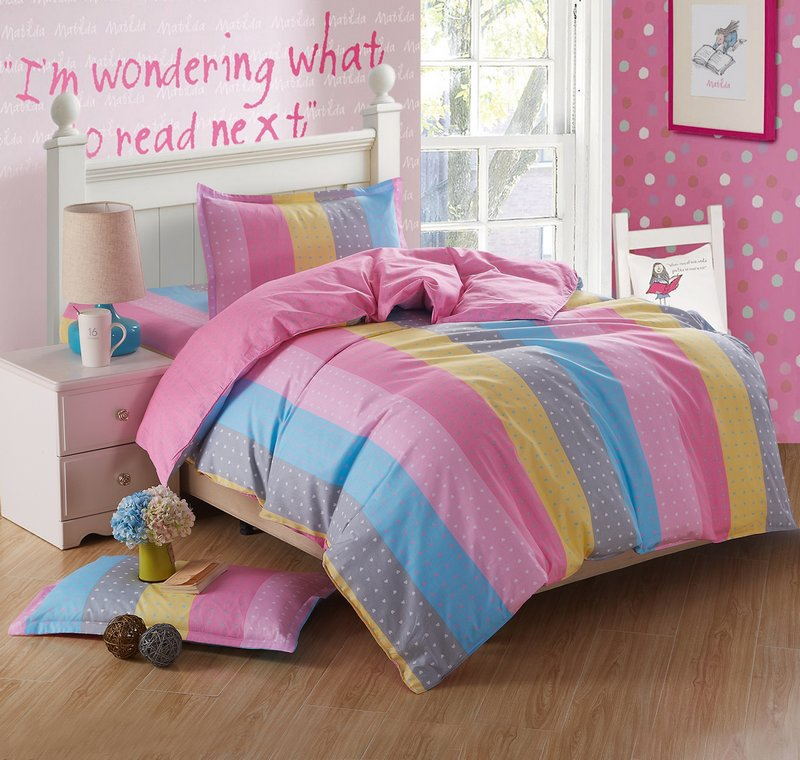 New Cute Rainbow Stripe Bedding Set Twin Size 3 Pcs Cotton Kids Rainbow Bedding  Set Comforter Duvet Cover Sheets Pillowcase In Bedding Sets From Home ...