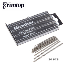20 adet/takım Eruntop 0.3 1.6mm büküm matkap ucu HSS matkap ucu seti Microbox güç araçları zanaat ağaç İşleme onarım aracı
