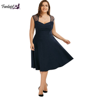 Fantaist Plus Size Big Women Clothing V Neck Sleeveless A Line Sexy Causal Runched Wedding Party