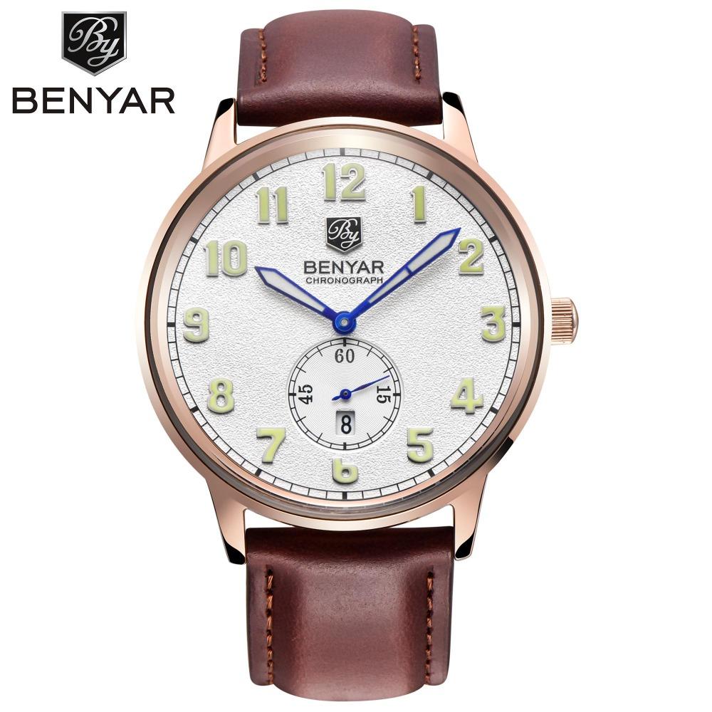 BENYAR Fashion Casual Leather Quartz Watches Men Wristwatches Business Simple Auto Date Male Watch Relogio Masculino BY-2726M