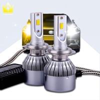 Tcart 2X Car LED Headlight D33 H7 36W Auto Led Headlamp Free Canbus White Yellow Fog Light For VW Volkswagen Passat B5 2004 2007