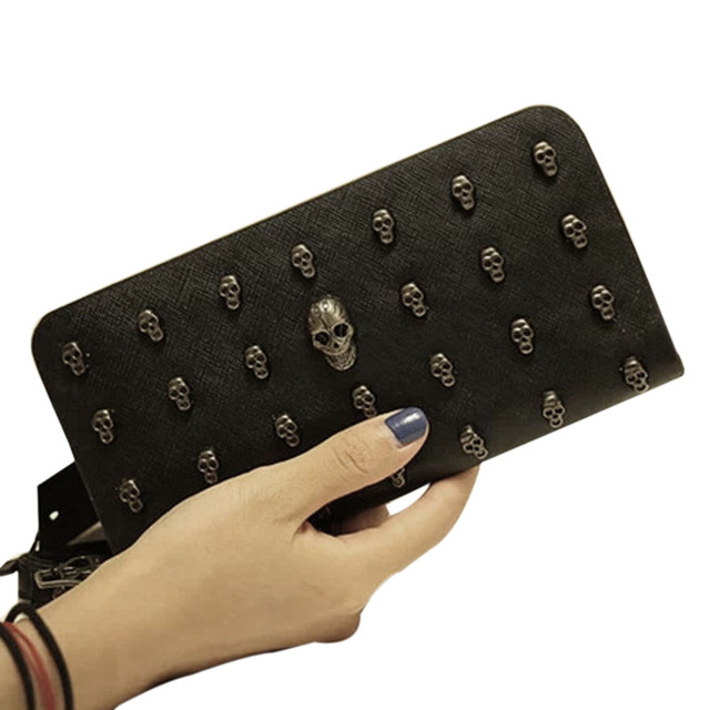 New PU Leather Women Wallets Retro Punk Skull And Crossbones Clutch Raindrops Pattern Gift Change Purses Card Holders Hi AGD