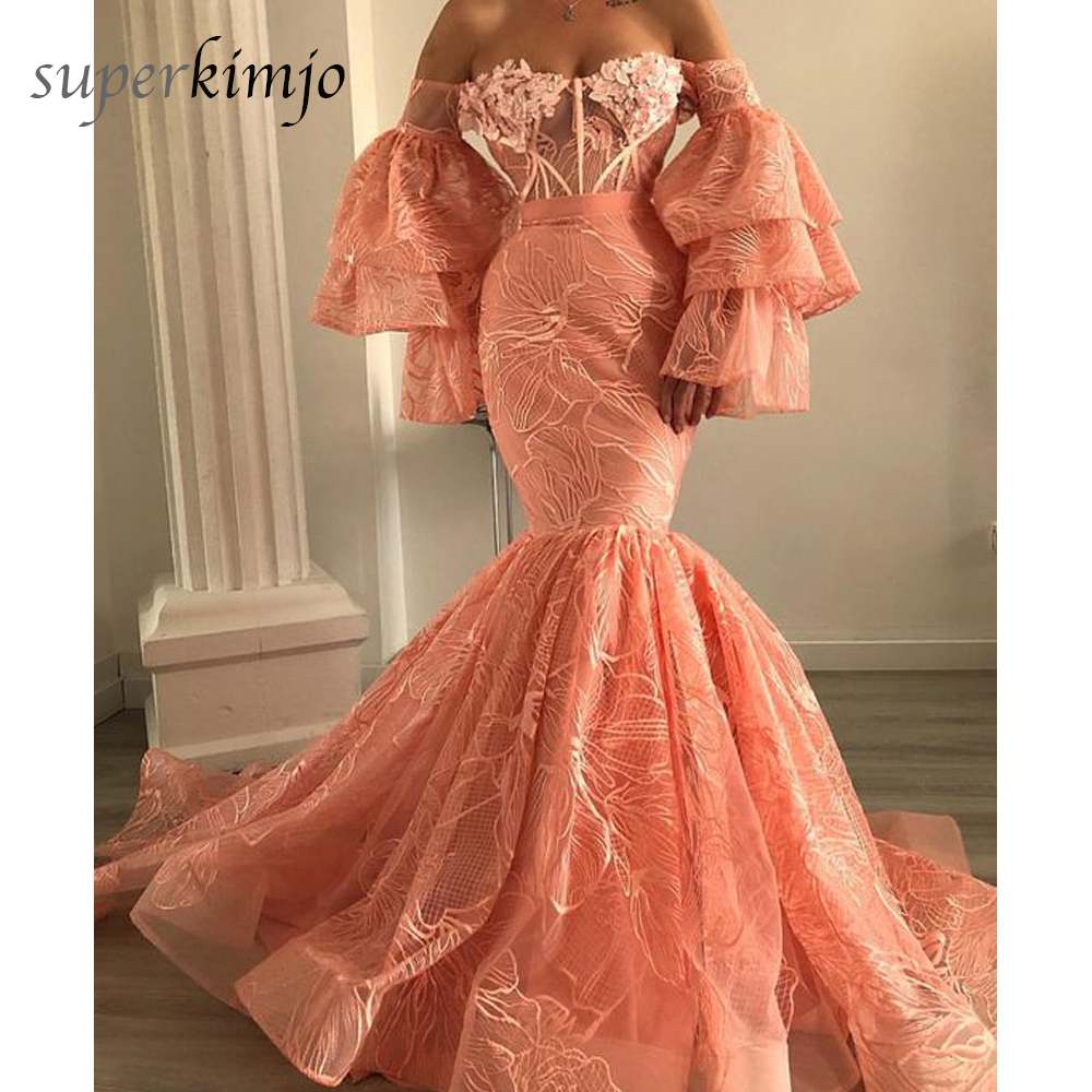 Long Sleeve Prom Dresses 2019: Pink Prom Dresses 2019 Off The Shoulder Lace Long Sleeve