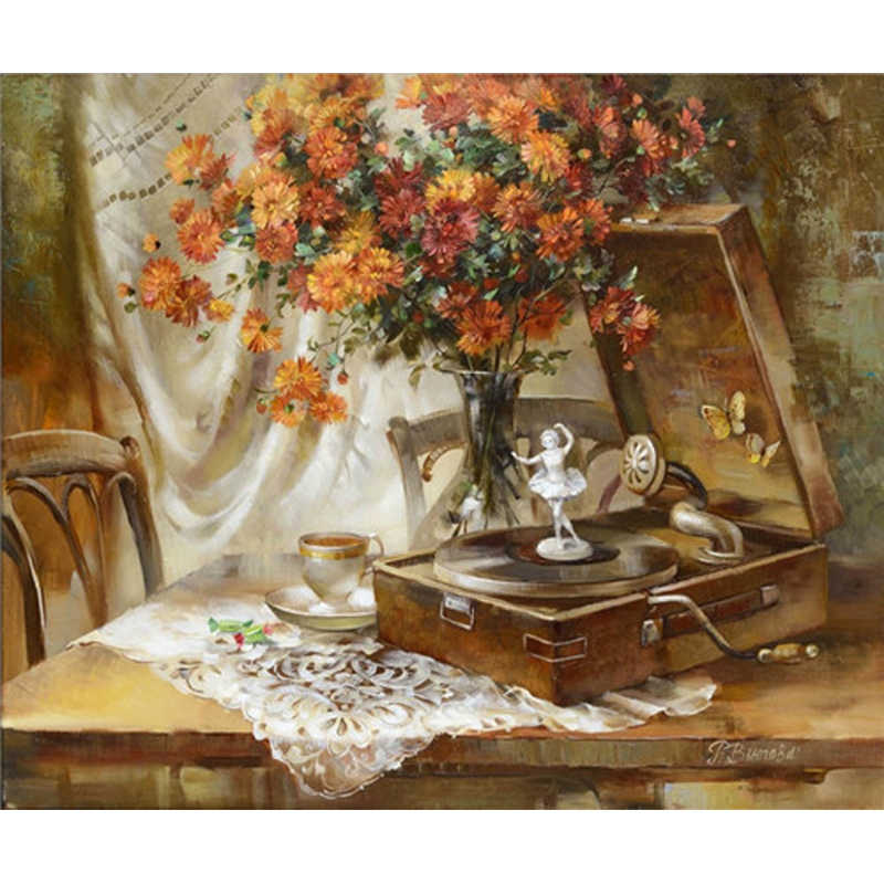YIKEE decorative canvas oil painting by numbers,painting by numbers framed FLOWER