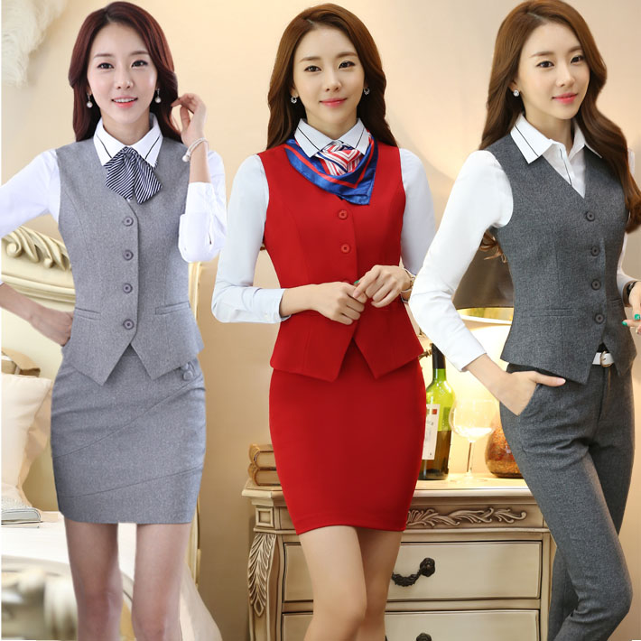 2019 Zhi Shou shirt vest suit skirt women fat mm large size front desk flight attendants uniforms banking uniforms kleider weit