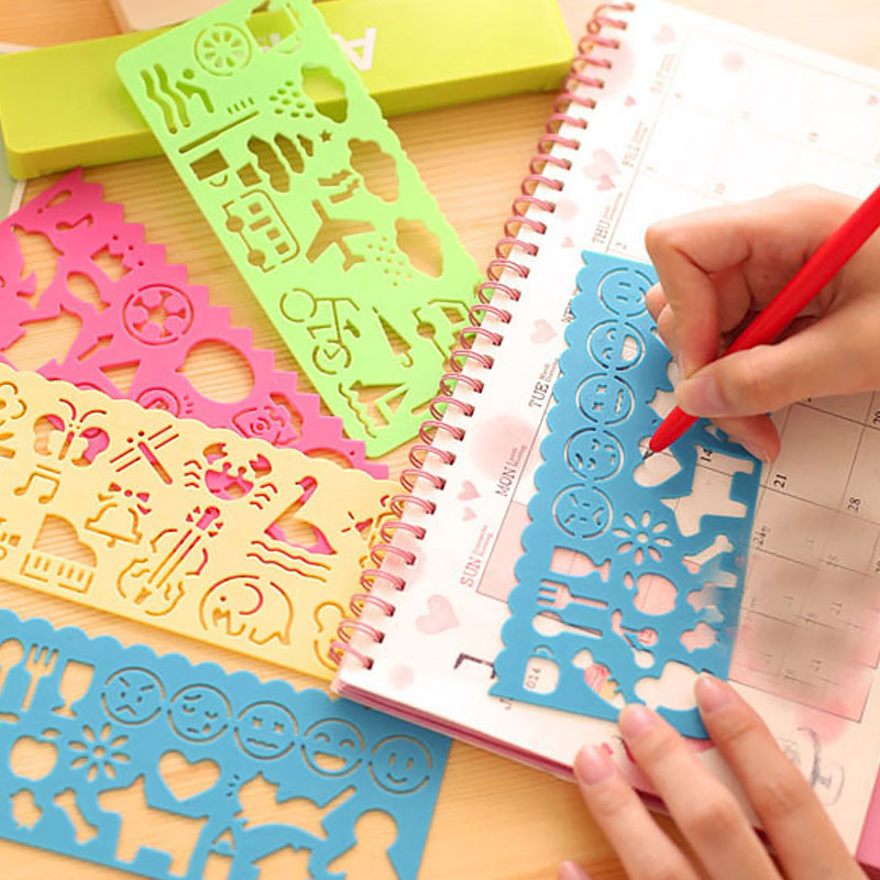 Elastic Cartoon Animal Painting Pattern Geometric Ruler Children Learning Stencil Drawing Tools School Stationery Supplies