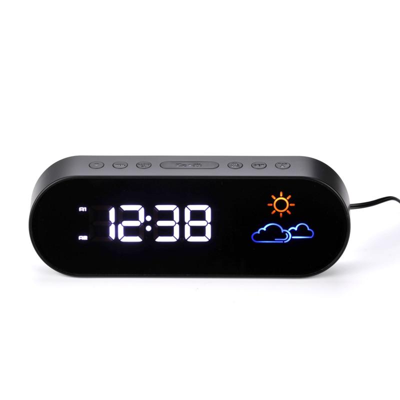 Couleur Prévisions Météo de Bureau Silencieux Horloge Radio Alarme Horloge LED Numérique Chambre Décoration