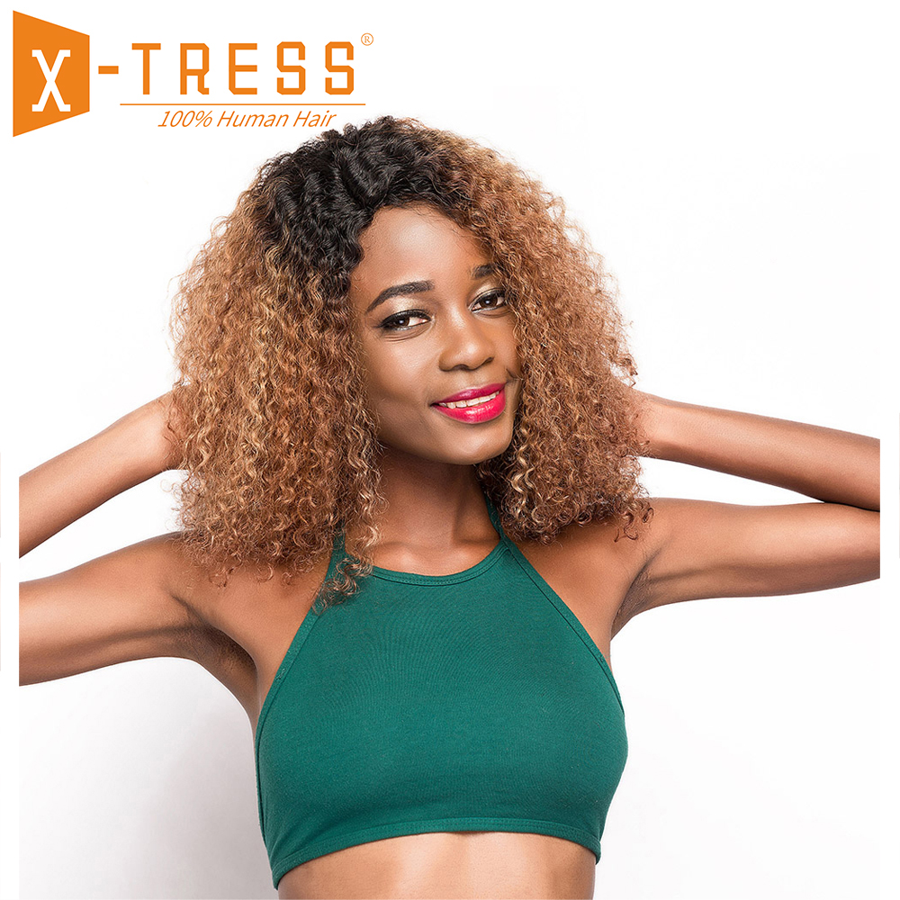 Ombre Brown Color Afro Kinky Curly Human Hair Wigs X TRESS Brazilian U Part Lace Wig