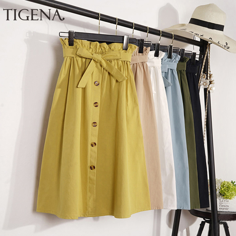 TIGENA Midi Long Skirts Women Fashion 2019 Summer Autumn High Waist Skirt Female Elegant Knee Length School Girls Skirt Yellow