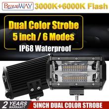 BraveWay 5 Inch 72W 3000K 6000K Flash Led Fog Lights for Trucks SUV ATV 4x4 Offroad Work Light Bar 4D Flood Beam Extra light