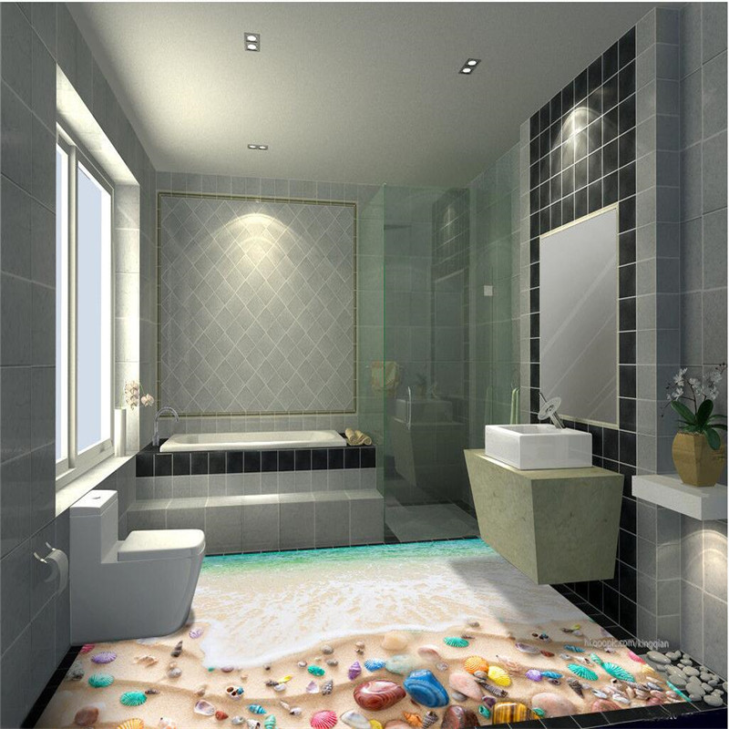 Modern Custom 3D floor painting mural sea beach color marine organisms non-slip waterproof thickened self-adhesive PVC Wallpaper beibehang modern bathroom kitchen custom 3d floor mural wallpaper wear non slip waterproof thickened self adhesive 3d pvc floor