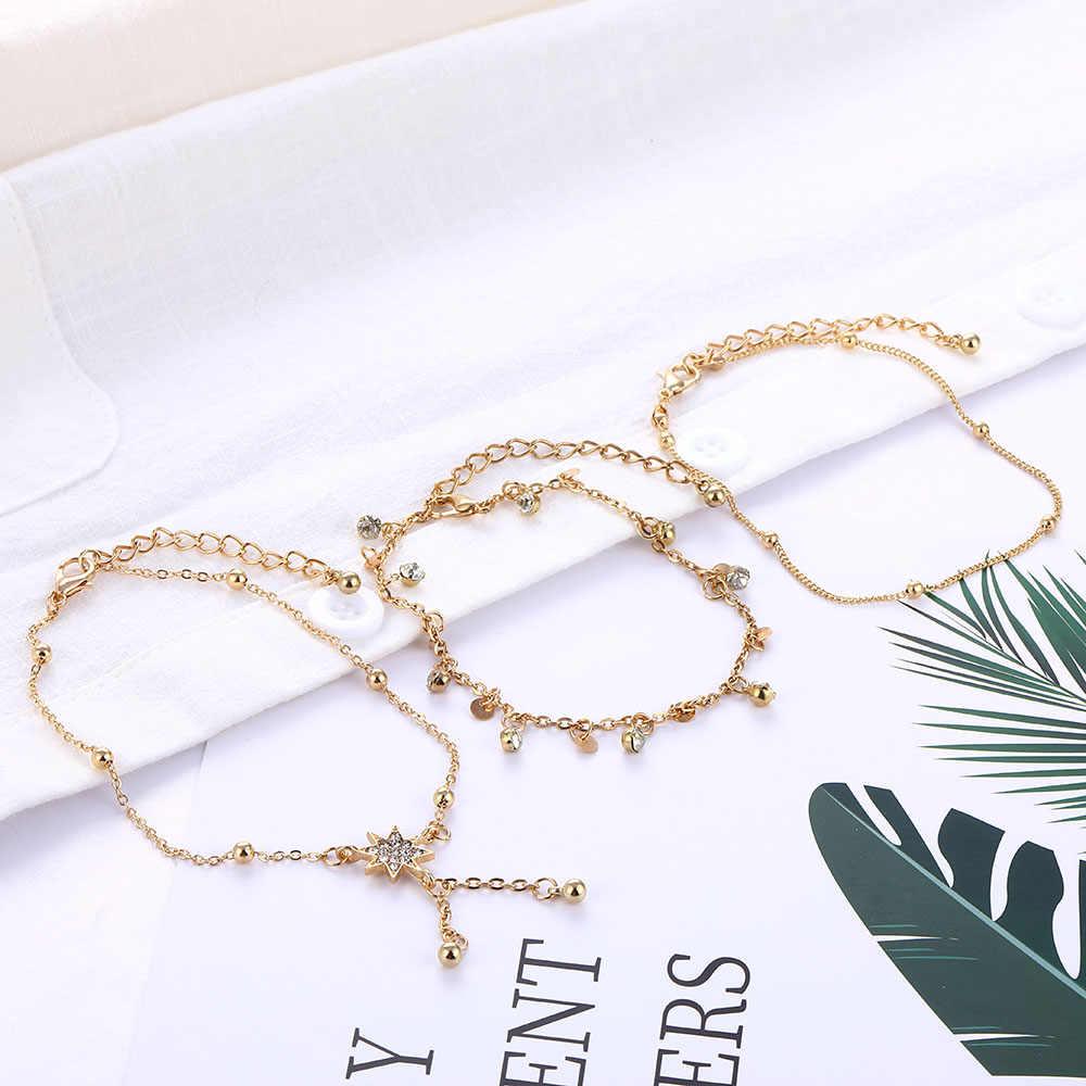Ножной браслет ручной работы, золотые женские Многослойные круглые стразы, ножной браслет, пляжные морские украшения, модная популярная новинка