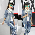 Spring new 2016 girls clothing sets long-sleeve pearl o-neck casual denim suits for teenage girl denim jacket + jeans twin set