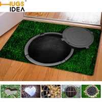Alfombras de entrada hugsida 40*60 cm alfombra impresa trampa de goma divertida 3D para sala de estar alfombras de baño alfombras de cocina alfombras