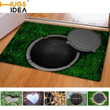 Hugsidea 40*60 cm alfombras de entrada de goma divertido 3d trampa impreso carpet para sala baño alfombras de piso de la cocina alfombras alfombras