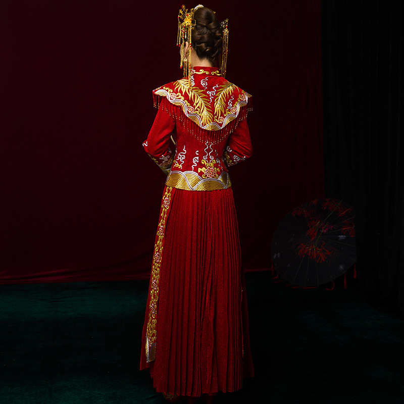 100% Kwaliteit Hoge Kwaliteit China Traditionele Tonen Bruid Jurk Kleren Chinese Stijl Trouwjurk Rode Avond Vintage Jurk Formele Kimono
