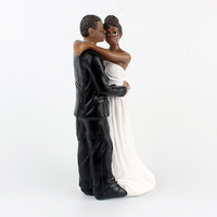 1 PIECE African American sweet love Bride Groom Figurine Wedding Cake Topper marriage Event Party Supplies anniversary Black