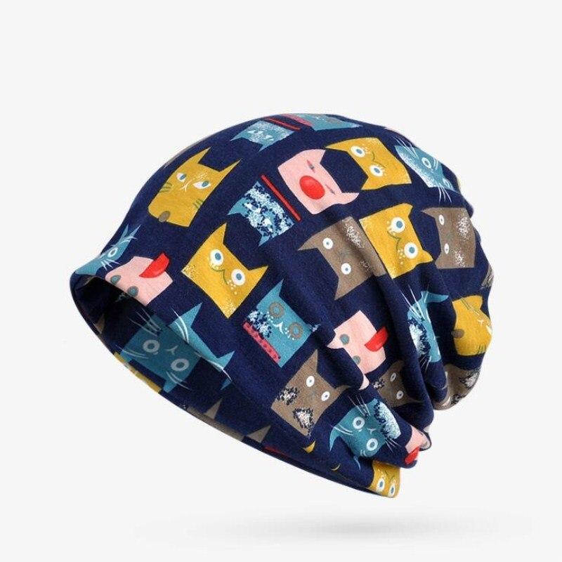 Seioum Winter Hats For Women Cat Pattern Knitted Cap Hat Female Velvet Thick Warm Mens   Skullies     Beanies   Scarf Bonnet Femme