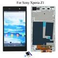 Para sony xperia z1 l39h c6902 c6903 c6906 lcd screen display touch com digitador assembléia + moldura branca + ferramentas, frete Grátis