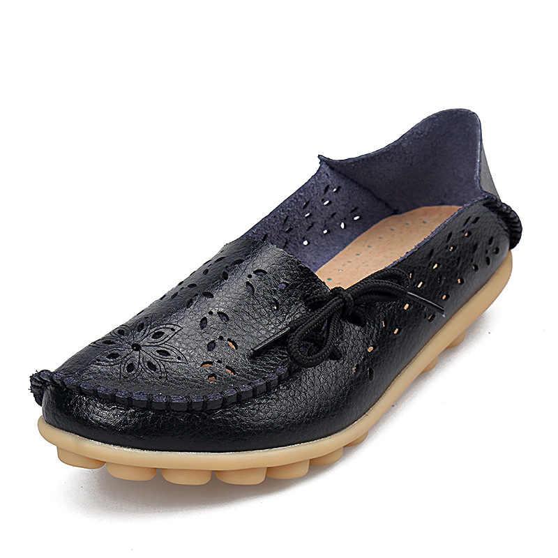 PU Lederen Flats Schoenen Vrouwelijke Loafers Vrouwen Casual Schoenen Hol Zachte Bodem Moeder Schoenen Plus Size