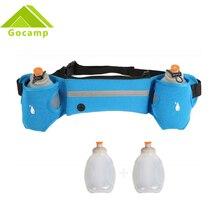 Deporte al aire libre Ciclismo Correr bolsa de Cintura Bolsa Jogging Walking paquete de Dos Calderas de Agua Pot Holder Stander Con 2 de Agua botellas
