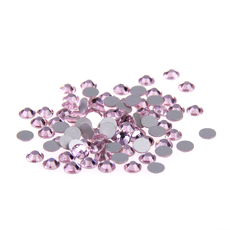 2016 New Design 99% Similar SWA. Non Hotfix Rhinestones Pink Crystal Strass 7 Big+7 Small 14 Facets For 3D Nail Art Decorations
