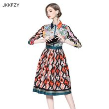153ca4fa8 JKKFZY diseño pista de las mujeres vestido de Otoño de 2018 nuevo invierno  imprimir 3 4 mangas vestido damas de trabajo de moda .