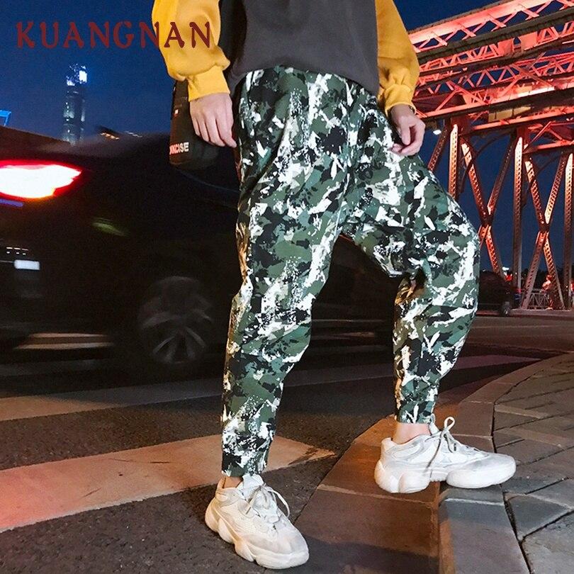 KUANGNAN Pants Camouflage Hip-Hop-Trousers Harem Men Jogger Japanese Streetwear XXL