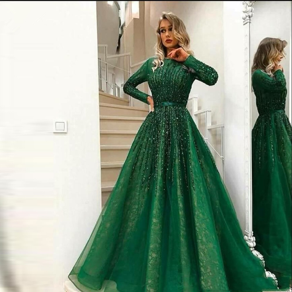 Green Muslim Evening Dresses 2019 A-line Long Sleeves Tulle Beaded Formal Islamic Dubai Saudi Arabic Long Elegant Evening Gown