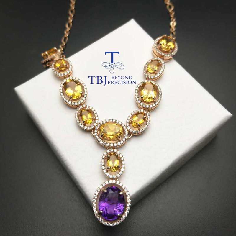 TBJ Graceful natural gemstone necklace with natural citrine and ameyst in 925 sterling silver with gift