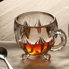 210 мл Хрустальная стеклянная чашка для чая, кофе, воды прозрачная чашка домашняя молочная Цветочная чайная стаканы для сока чашки кружка с ручкой для подарков