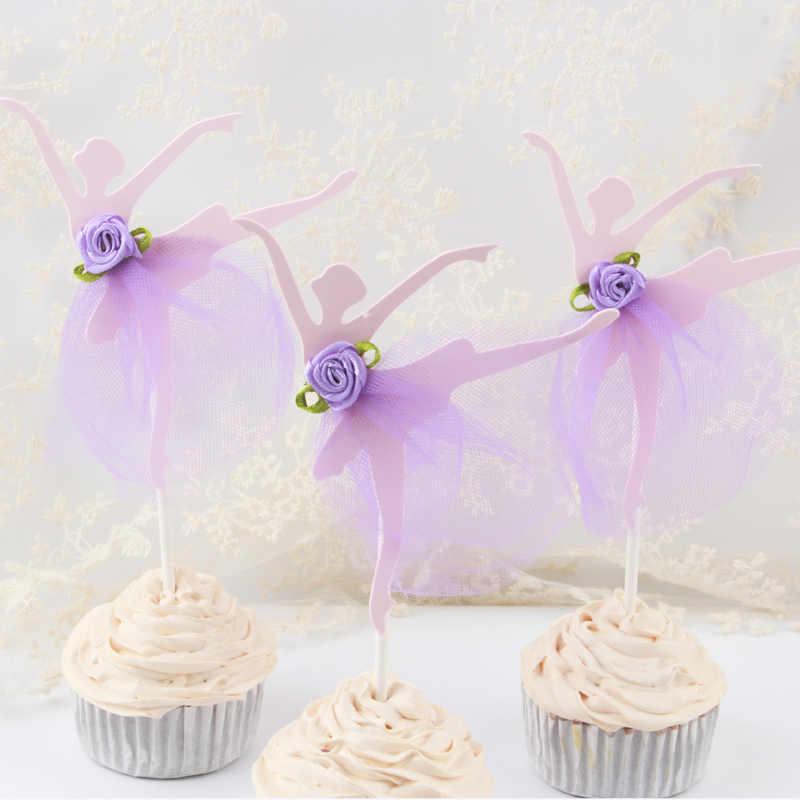 3 ชิ้น/ล็อตบัลเล่ต์สาวชุดวันเกิดเค้ก topper cupcake ตกแต่งเด็กทารกเด็กวันเกิดงานแต่งงานโปรดปรานอุปกรณ์