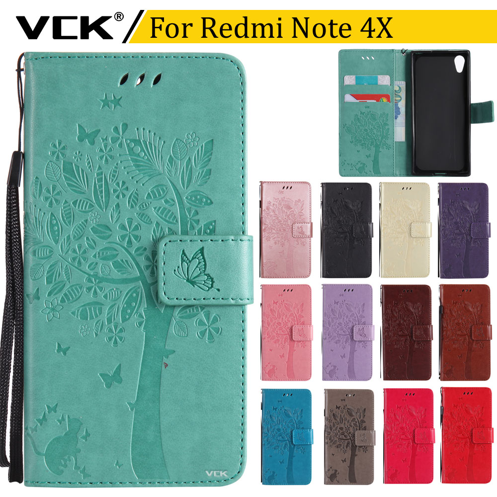 VCK Embossed Butterfly Cat printed pattern Tree For Xiaomi Hongmi Redmi Note 4X 5.5 TPU Leather Luxury Wallet Flip Cover Case